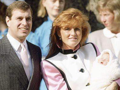 Prince Andrew and Sarah Ferguson with newborn Princess Eugenie
