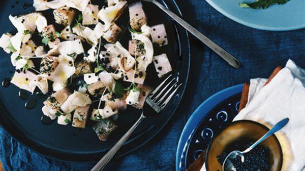 White pepper-cured kingfish with lardo, Avruga and rye crisps