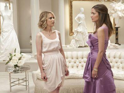 Movie still Bridesmaids fight inside wedding dress shop