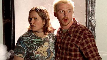 Simon Pegg and Jessica Stevenson in Spaced.
