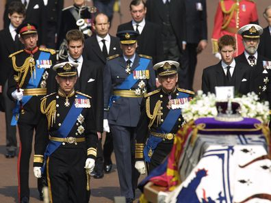 The Queen Mother's coffin is carried to Westminster Abbey, 2002