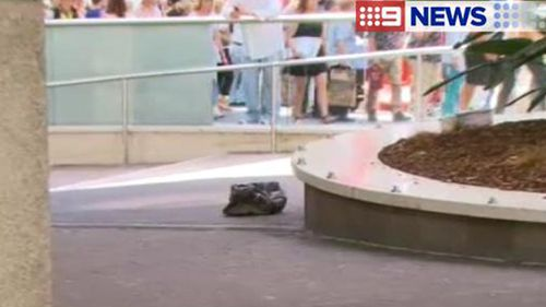 The abandoned bag thought to have prompted the security lockdown at Martin Place today. (9NEWS)