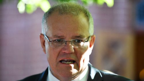 Prime Minister Scott Morrison speaks to journalists after an ecumenical service for the commencement of parliament.