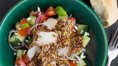 "Recipe:&nbsp;<a href=""http://kitchen.nine.com.au/2017/01/19/14/30/dukkah-chicken-with-hummus-and-feta-salad"" target=""_top"" draggable=""false"">Dukkah chicken with hummus and feta salad</a>"