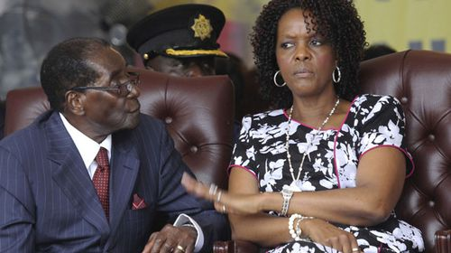 Robert Mugabe and his wife, Grace, pictured here in February 2016. (AAP)