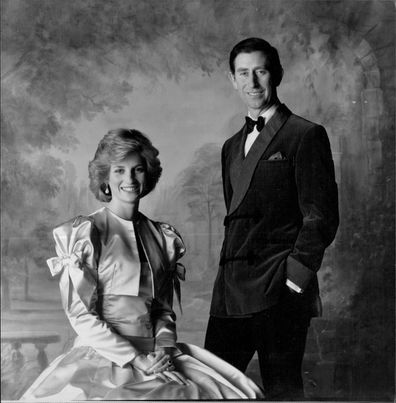Charles and Diana pose for an official portrait by Snowdon at Kensington Palace in London.