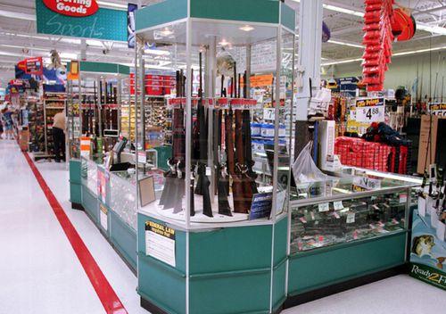 Guns for sale at a Walmart.