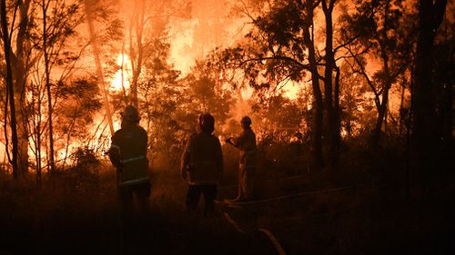 RFS officers managed to spare more than 500 homes and buildings from being damaged by the inferno, which burned right up to within metres of properties. Picture: 9NEWS.