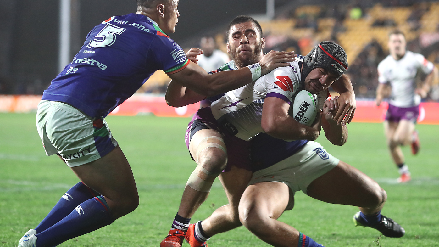 Jahrome Hughes' brace lifts Melbourne Storm to win over NZ Warriors