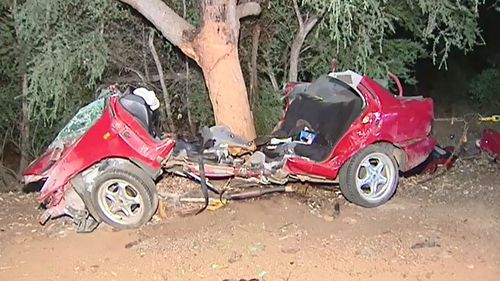 The Nissan Pulsar crashed after a police pursuit. (9NEWS)