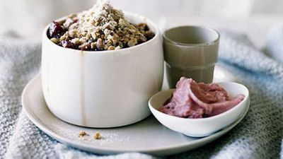 """Recipe:<a href=""""http://kitchen.nine.com.au/2016/05/17/14/59/quince-and-hazelnut-crumble"""" target=""""_top"""">Quince and hazelnut crumble</a>"""