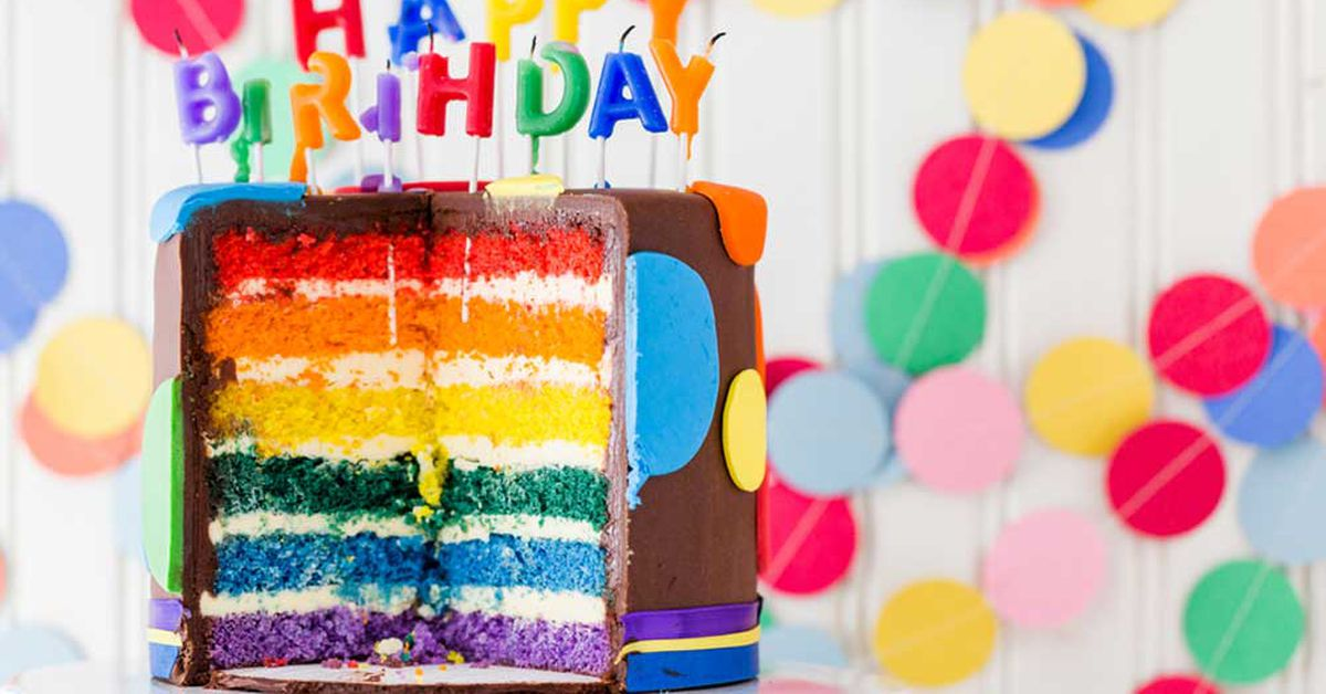 Strange The Ultimate Rainbow Layer Cake Recipe 9Kitchen Funny Birthday Cards Online Elaedamsfinfo