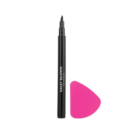 "<p><a href=""https://www.modelcocosmetics.com/shop/feline-kit"" target=""_blank"">ModelCo Hailey Baldwin Feline Kit Liquid Eyeliner and Applicator Tool, $39.</a></p> <p> <br> </p>"