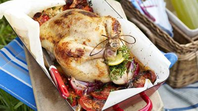 "Recipe: <a href=""http://kitchen.nine.com.au/2016/05/16/14/48/tomato-and-thyme-roast-chicken"" target=""_top"">Tomato and thyme roast chicken</a>"