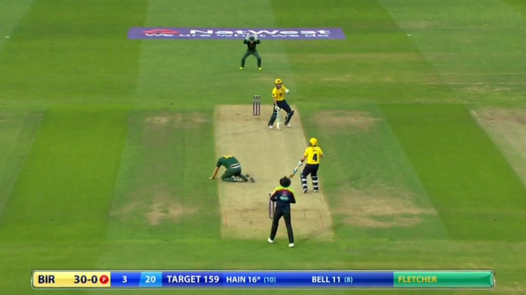 Bowler cracked in the head by vicious shot