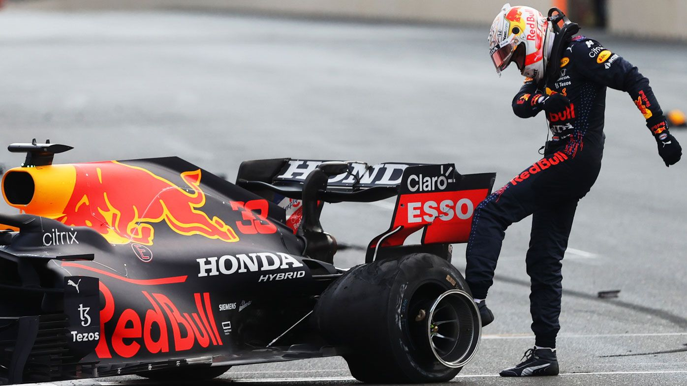 Max Verstappen bombs out of the Baku GP.