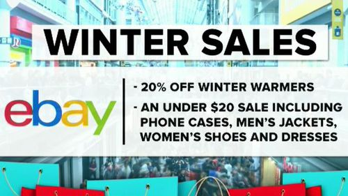 eBAY is also slashing prices, offering 20 percent off winter warmers. (9NEWS)