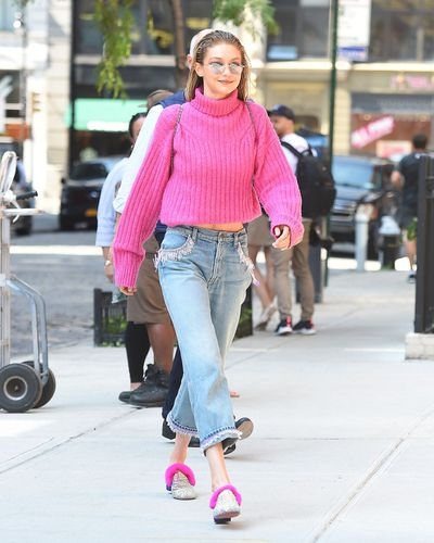 Supermodel Gigi Hadid is working one of this season's hottest colours - pink.