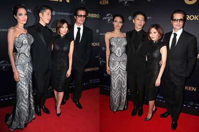 Brangelina with Japanese singer Miyavi Ishihara, who appears in <i>Unbroken</i>, and his wife Melody.