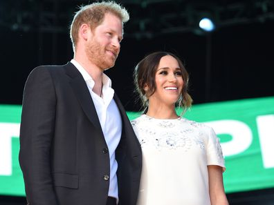 Prince Harry, Duke of Sussex and Meghan, Duchess of Sussex speak onstage during Global Citizen Live, New York on September 25, 2021 in New York City. (Photo by Kevin Mazur/Getty Images for Global Citizen )