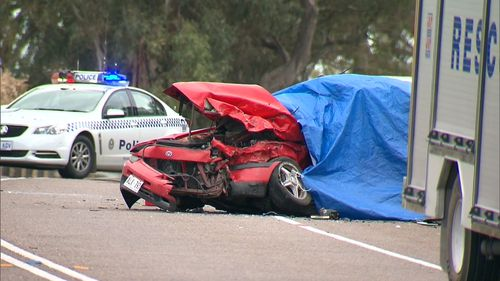 The two cars crashed just before 5pm yesterday. Two teens died at the scene.