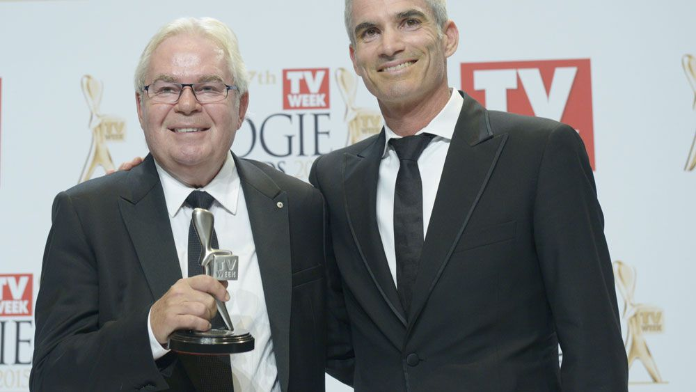 Craig Foster and Less Murray after SBS won a Logie award in 2015. (AAP)