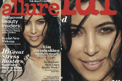 "<i>Allure</i>'s make-up artists claimed she used no mascara for Kim's ""very low-key, natural"" shoot for their cover. We smell a rat… (Image: <i>Allure</i>)"