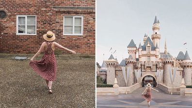Instagrammer Carolyn Stritch Photoshopped this shot of herself (left) into a trip to Disneyland that never happened to prove how easy it is to fake it on social  media. Photo: @theslowtraveler