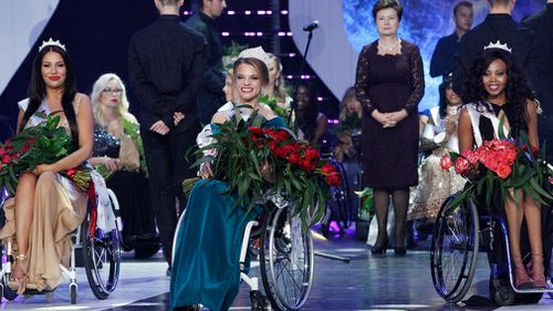 A Belarus woman won the inaugural Miss Wheelchair World. (AP)