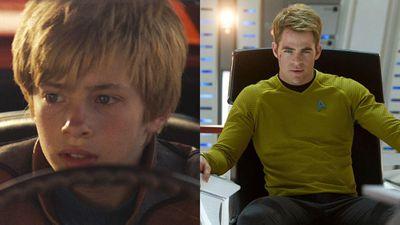 Jimmy Bennett and Chris Pine as James T. Kirk in Star Trek