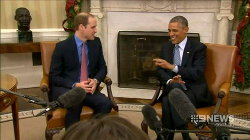 Prince William discusses the birth of his son, George, with US President Barack Obama. (9NEWS)