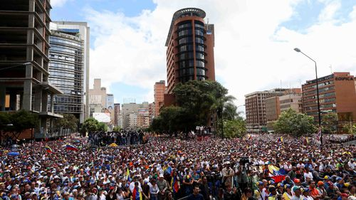 Opponents demonstrate against the government of President Nicolas Maduro in Caracas.