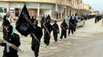 Fighters from Islamic State marching in Raqqa, Syria, in a photo dated from 2014.