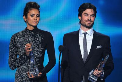 <i>Vampire Diaries</i> co-stars and real-life exes Nina Dobrev and Ian Somerhalder employed the classic J-Law tactic of poking fun of themselves and their awkwardness while they accepted their People's Choice Award for Favourite On-Screen Chemistry. Watch what happened on the next slide...