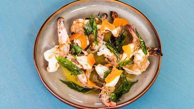 """<a href=""""http://kitchen.nine.com.au/2017/02/10/14/19/chargrilled-prawns-with-pickled-turmeric-brown-butter-and-crispy-curry-leaves"""" target=""""_top"""">Banksii's chargrilled prawns with pickled turmeric, brown butter and crispy curry leaves</a><br /> <br /> <a href=""""http://www.banksii.sydney/"""" target=""""_top"""">Banksii Restaurant, Sydney NSW</a>"""