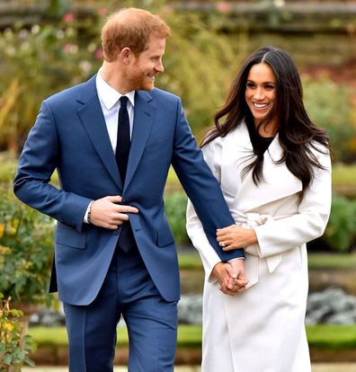 Prince Harry and Meghan Markle engagement announcement photocall in Kensington Palace gardens November 2017. Also shot used for step down announcement