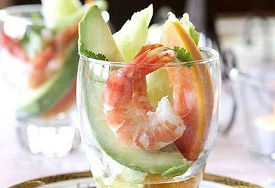 Prawn and papaya cocktails