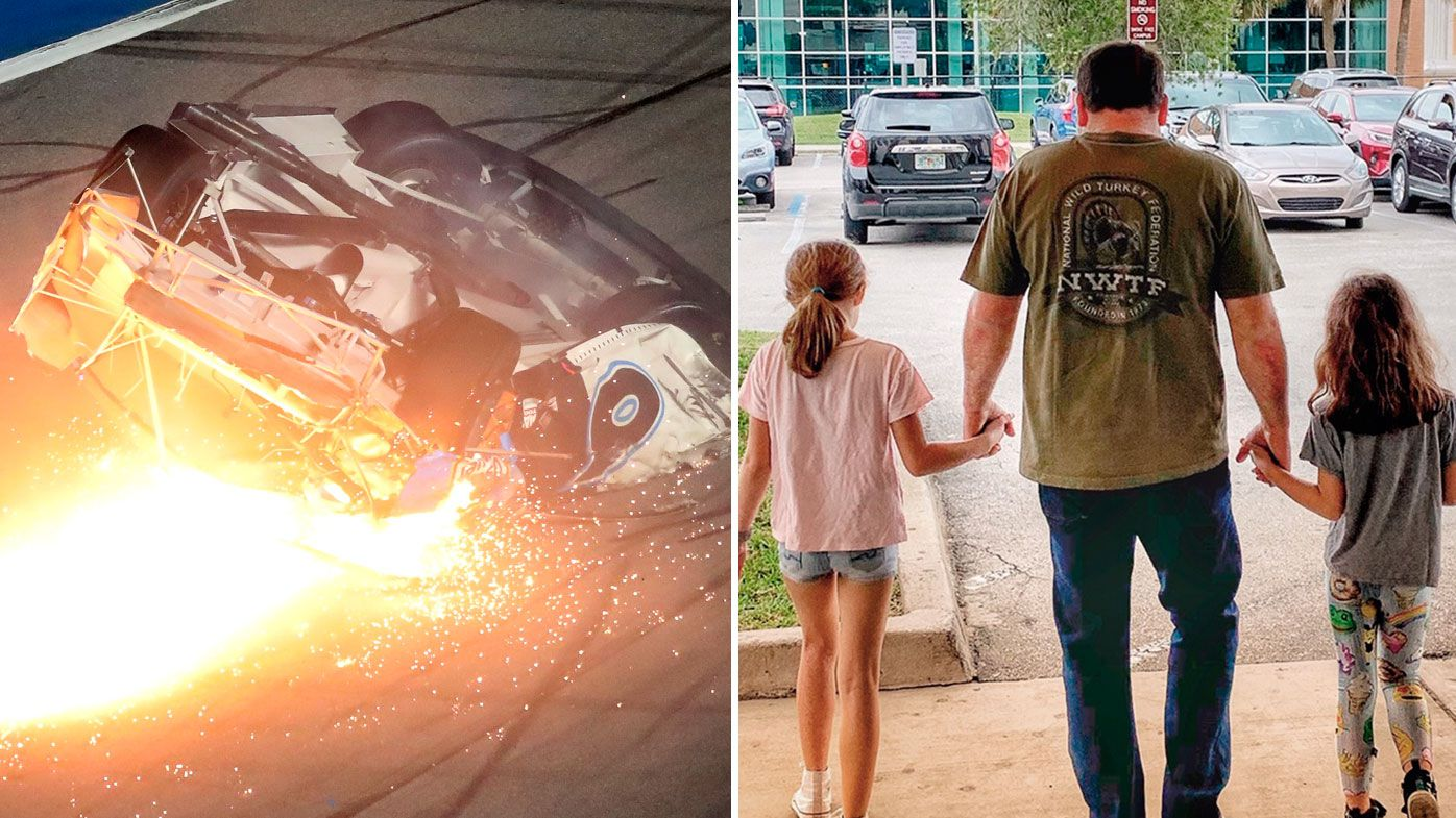 Ryan Newman's Daytona 500 wreck and days later walking with his kids out of hospital