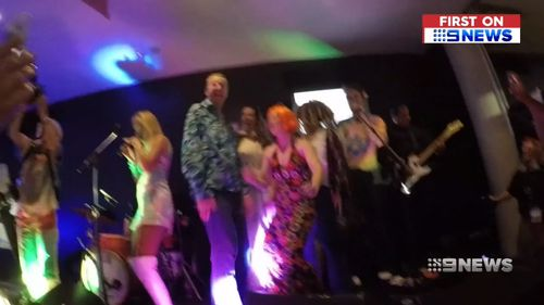 """Neale Daniher jumped on stage for a rendition of """"Mr Brightside""""."""