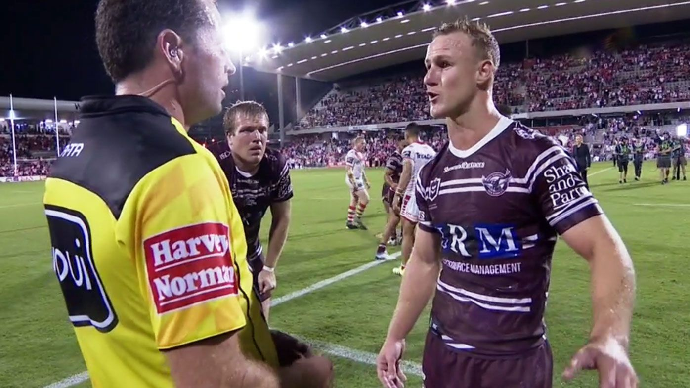 'That's black and white!': Daly Cherry-Evans fumes at referee as Manly fall to Dragons in final whistle controversy