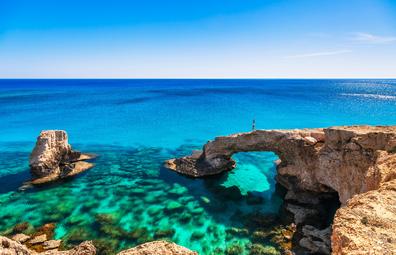 Natural rock arch near of Ayia Napa, Cavo Greco and Protaras on Cyprus island