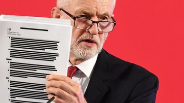 Jeremy Corbyn hold redacted document on NHS