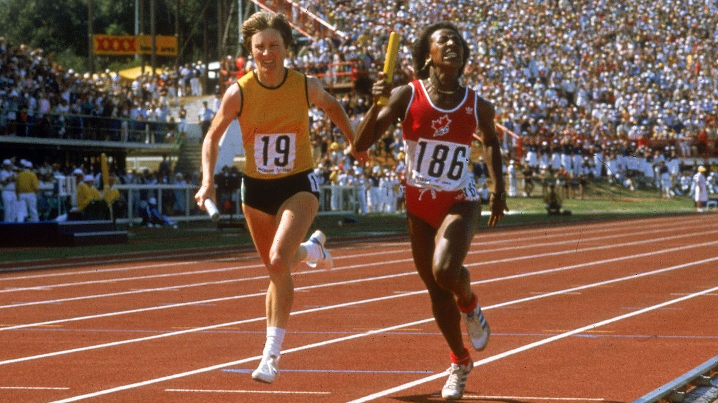 Raelene Boyle of Australia (L) and Angela Bailey of Canada in action in the Womens Relay during the 1982 Commonwealth Games held in Brisbane