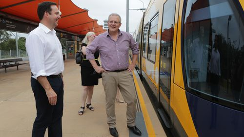 Prime Minister Scott Morrison is seen during the announcement of stage 3 of the Gold Coast light rail on the Gold Coast.