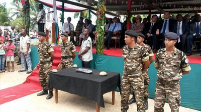 The bar was presented to Madagascar's president at a special ceremony.