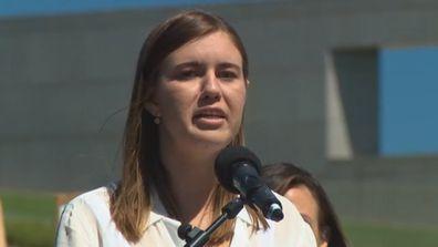BrittanY Higgins speaks at Canberra March 4 Justice