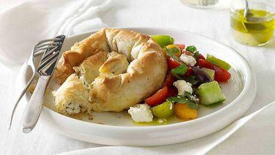 Haloumi, feta and mint boureki with Greek salad