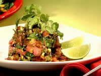 Sirloin of beef with a black bean and coriander sauce