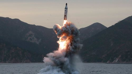 An undated file photo released on 24 April 2016 by North Korean Central News Agency (KCNA) shows an 'underwater test-fire of strategic submarine ballistic missile' at an undisclosed location in North Korea. (AAP)