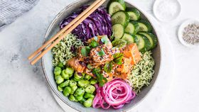 Miso salmon and green rice poke bowl